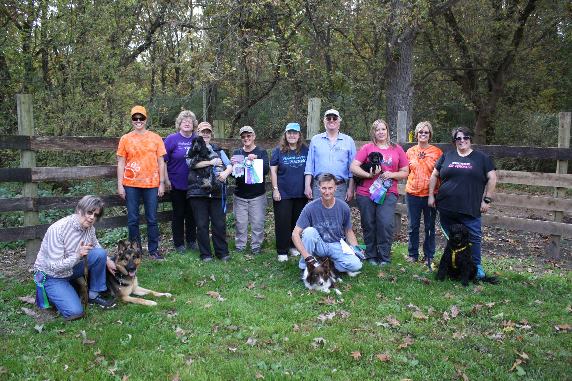 GRAC tracking test participants and volunteers. L to R: oan Andreasen-Webb & Desta, Gina Truxton, Kim Laird, Sue Wilkinson & Sennyn, Marilyn Johnson, Marty Siegrist, Charles Gibson, Pete Ostlund & Zachariah, Linda Alkema & Prince, Ann Newell, Brenda Young & Allegiance Let Me Take a Selfie